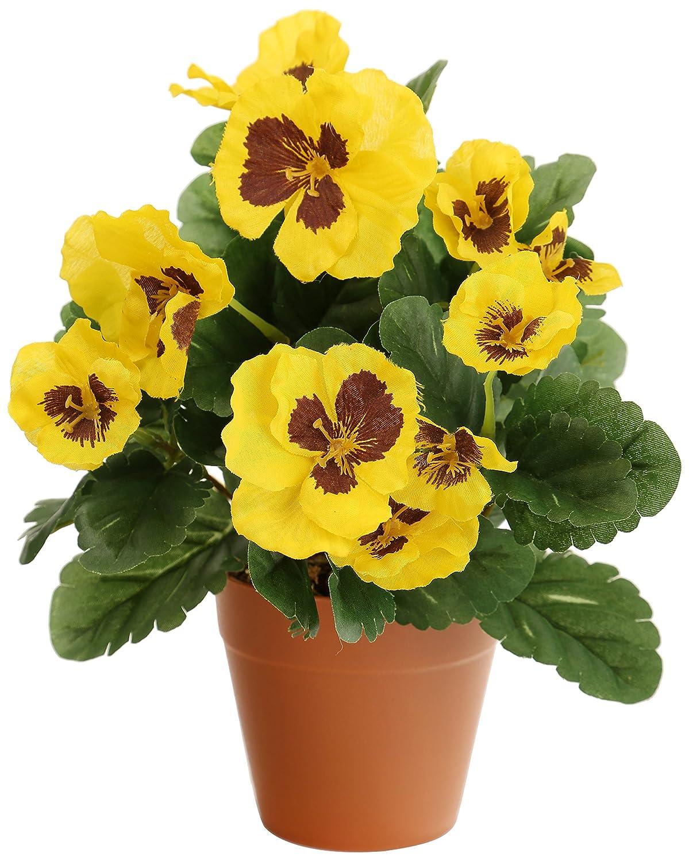 Closer2Nature Artificial 27cm Yellow Pansy Plug Plant Artplants AP-TLPAN-Y