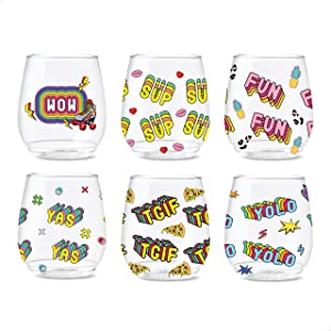 TOSSWARE 14oz Good Vibes Series SET OF 6, Recyclable, Unbreakable & Crystal Clear Plastic Printed Glasses