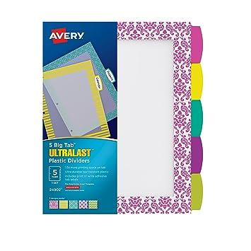 amazon avery ultralast bigタブプラスチックディバイダー 5タブ 1