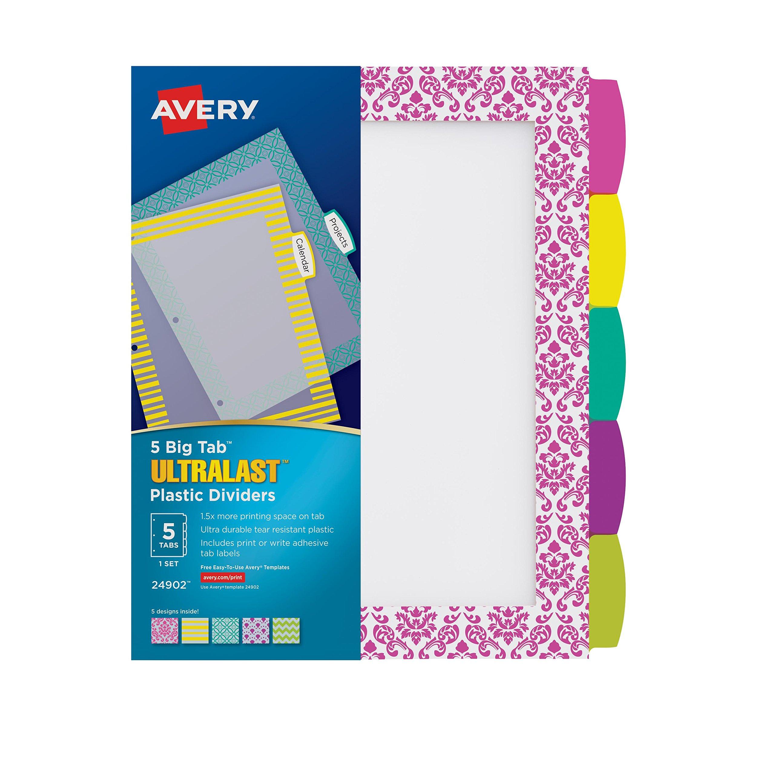 Avery Ultralast Big Tab Plastic Dividers, 5 Tabs, 1 Set, Assorted Designs (24902)