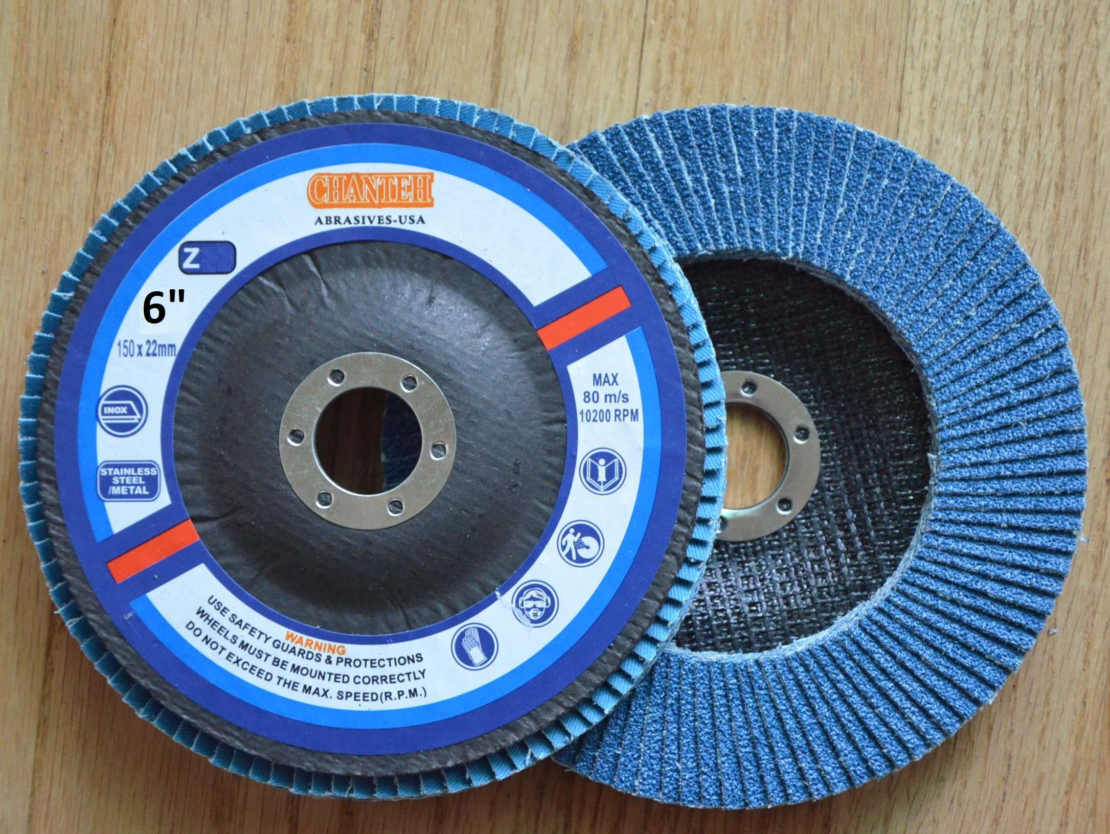 Premium FLAP DISCS 6'' x 7/8'' Zirconia 80 grit Grinding Wheel grinder tool - 5pcs Pack by CHANTEH