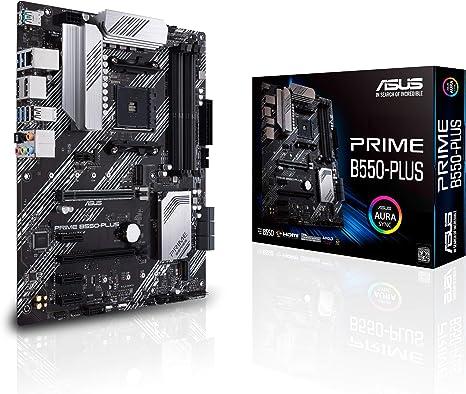 ASUS PRIME B550-PLUS - Placa base ATX AMD AM4 con disipación VRM MOS, PCIe 4.0, doble