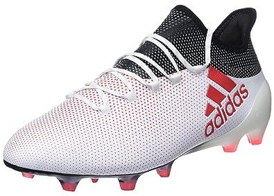 adidas X 17.1 FG, Chaussures de Football Homme, Blanc (Footwear White/Energy Blue/Clear Grey), 44 EU