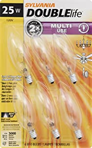 SYLVANIA Home Lighting 18748 Incandescent Bulb, B10-25W-2850K, Double Life, Clear Finish, Candelabra Base, Pack of 6
