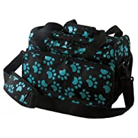 Wahl Professional Animal Travel Tote Bag with Zipper, Turquoise Paw Print Design (#97764-300), 9 Inches-Turquoise