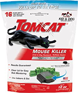 Tomcat Mouse Killer Refillable Station, Includes 1 Bait Station with 16, 1-oz. Baits - Child & Dog Resistant - Use Indoors & Outdoors to Kill Mice