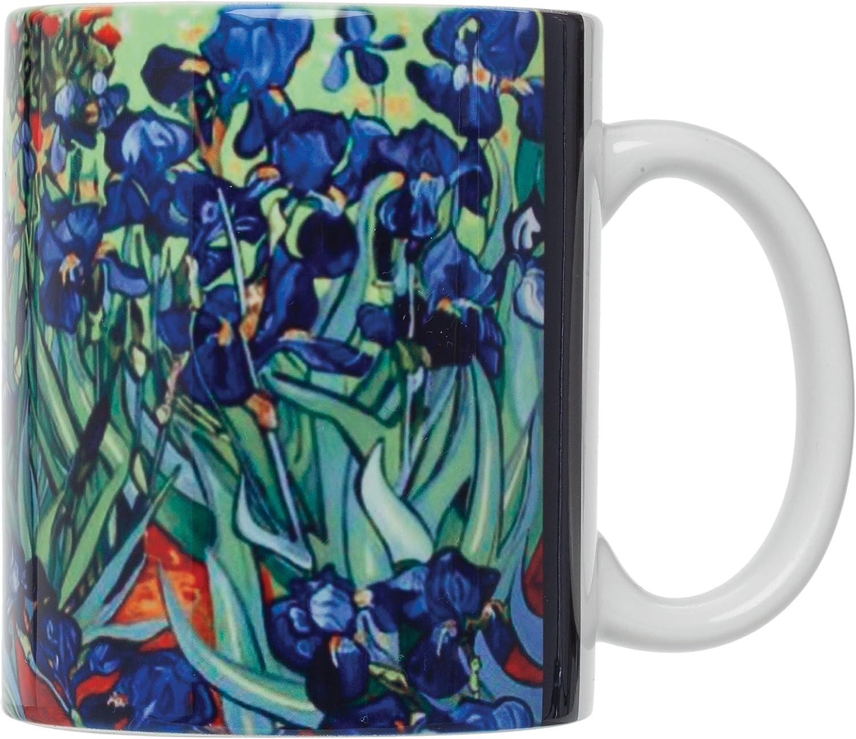 HIC Harold Import Co. HIC Vincent Van Gogh Les Irises Art Coffee Tea, Fine White Porcelain, 12-Ounces, Set of 4 Mugs, 12 oz, Floral