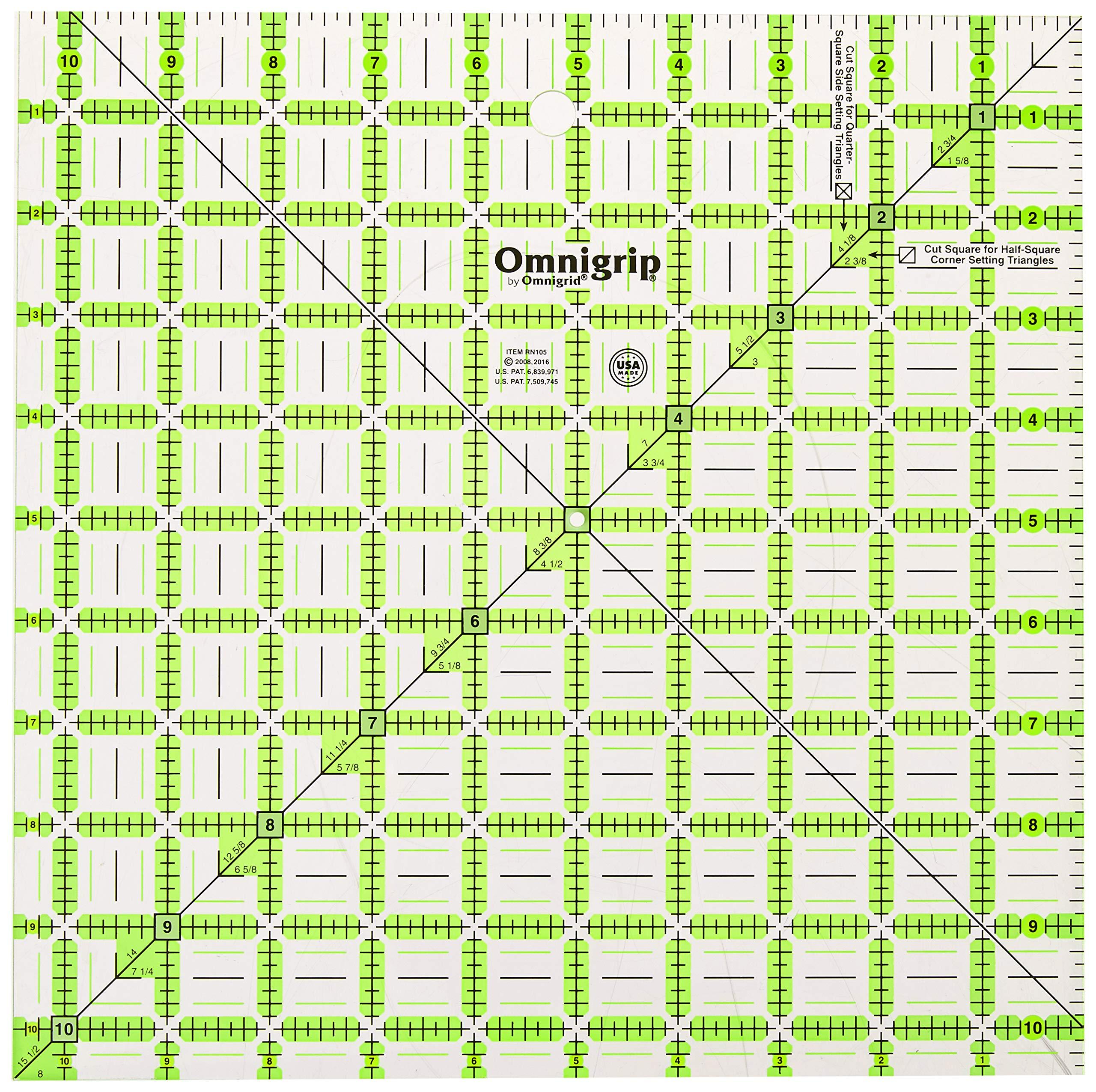 Omnigrip RN105 Non-Slip Quilter's Ruler, 10-1/2 x 10-1/2-Inch by Omnigrid