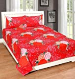 Cozyland 180 TC Polyester Double Bedsheet with 2 Pillow Covers - Floral, Red 2