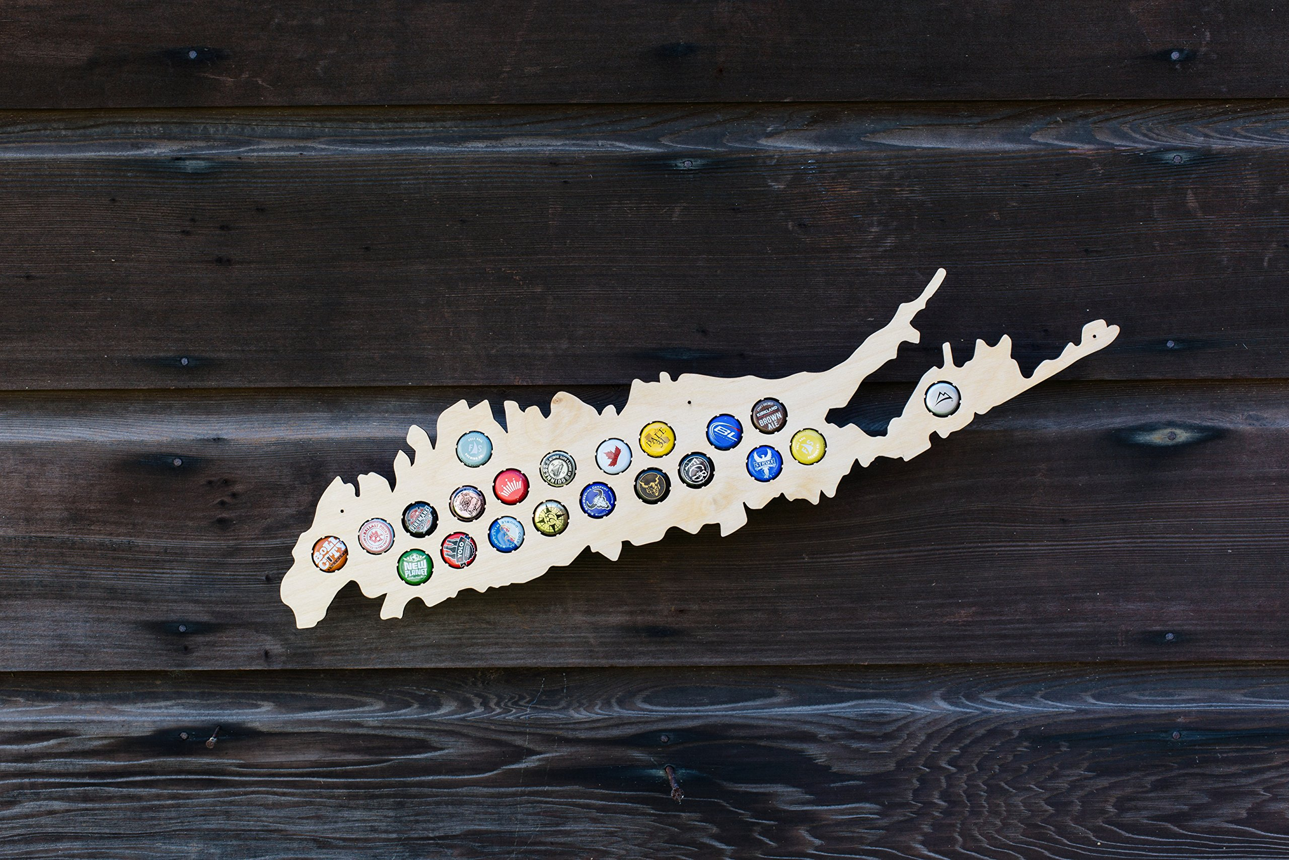 Long Island Beer Cap Map - Holds Craft Beer Bottle Caps - New York Neighborhoods (natural_wood) by Beer Cap Country (Image #2)