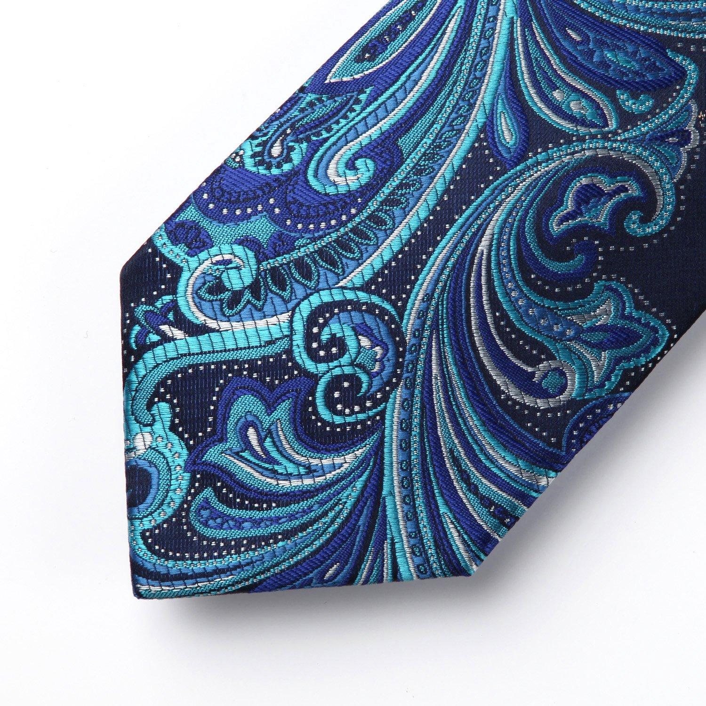 HISDERN Paisley Floral Wedding Tie Fazzoletto da uomo Cravatta e fazzoletto da taschino