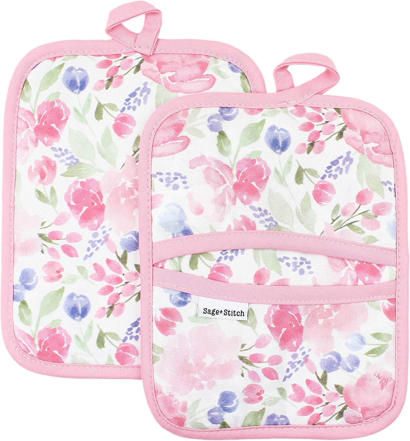Sage and Stitch Kitchen Pot Holders for Women 7'' x 9'' with Hand Pockets and Hanging Loop, Dual Function Oven Mitt Trivet Potholder Hot Pad 100% Cotton, Heat Resistant Set of 2 - Pink Floral