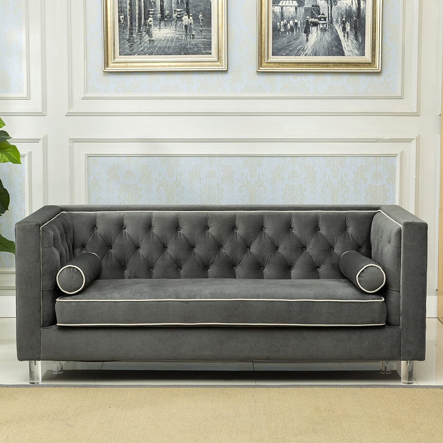 Christies Home Living Victoria Collection Contemporary Polyester Velvet Fabric Upholstered Button Tufted Living Room Tuxedo Sofa
