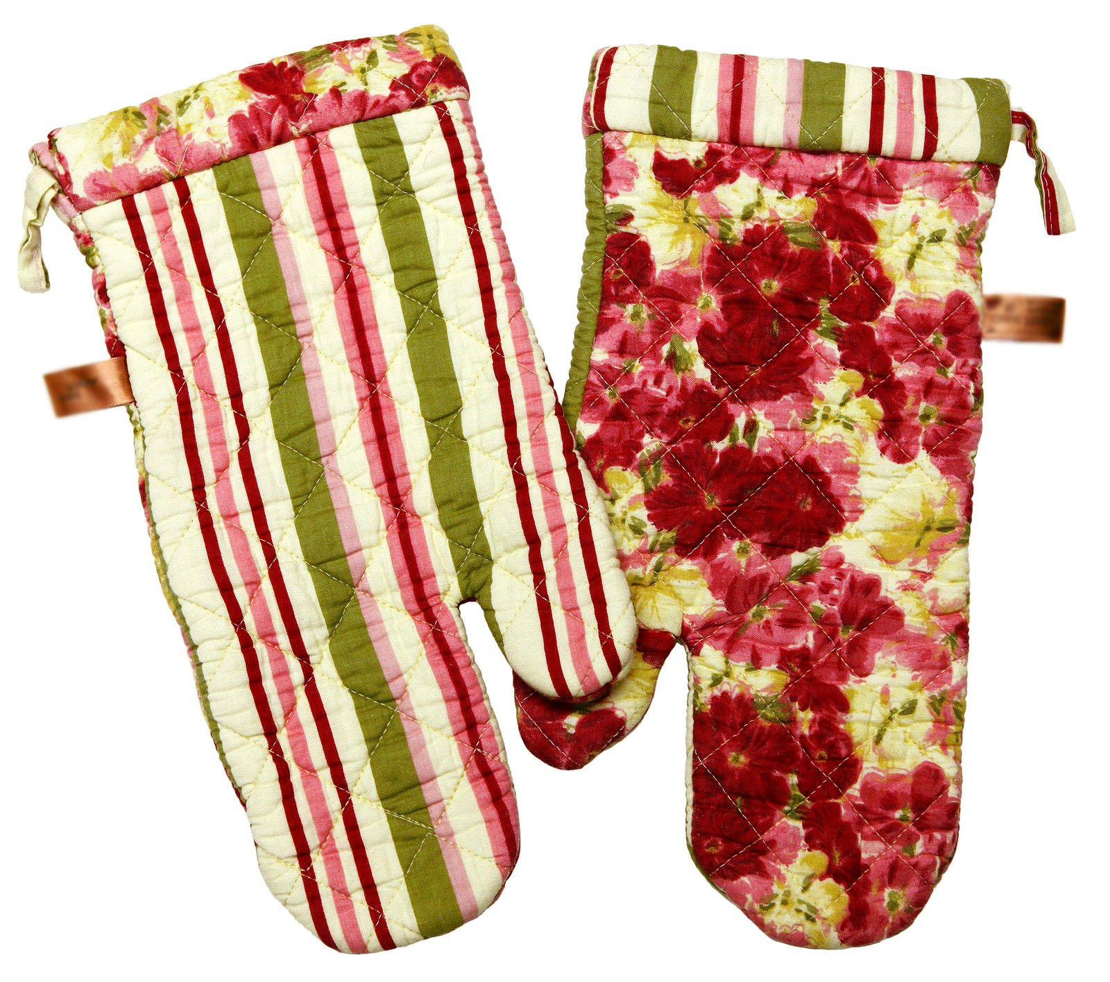 "Custom & Durable {14"" x 6.5"" Inch Each} 4 Set Pack of Mid Size ""Non-Slip"" Pot Holders Gloves Made of Cotton for Carrying Hot Dishes w/ Quilted Classic Stripe Floral Style {Green, Red, & Pink} by mySimple Products"