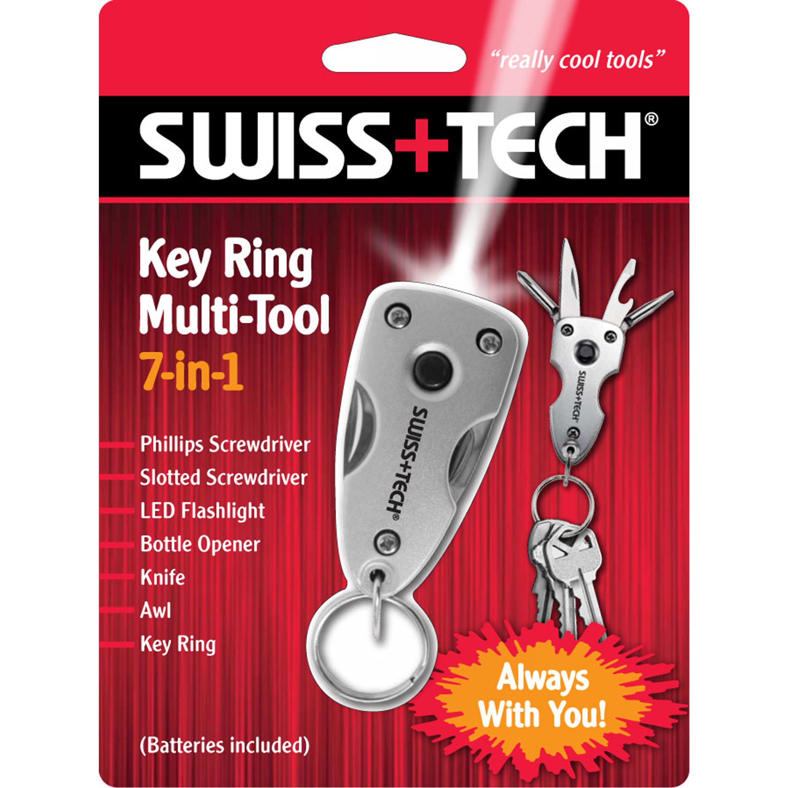 Swiss+Tech ST60300 Silver 7-in-1 Key Ring Multitool with LED Flashlight for Auto Safety, Outdoors, Camping