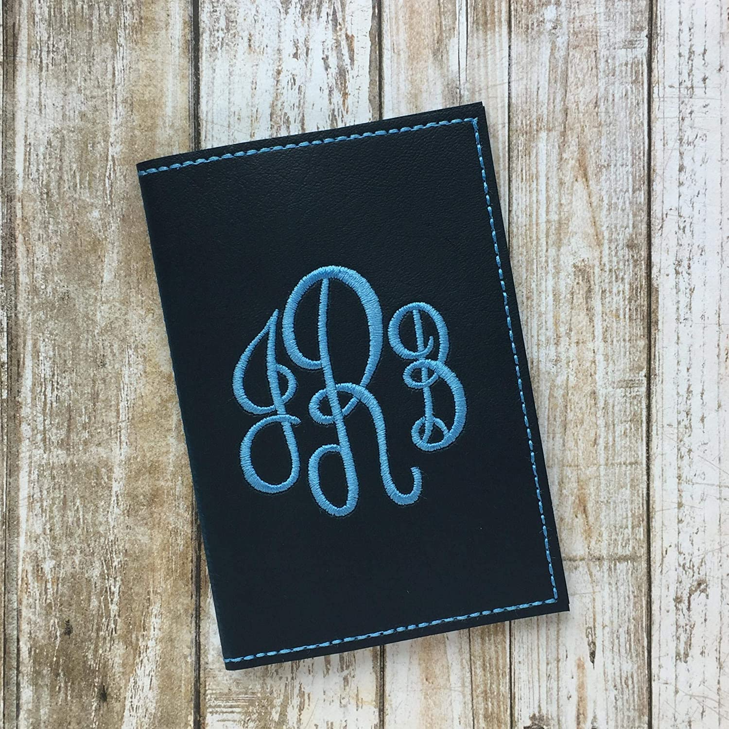 Monogrammed Passport Cover for Women - choose your custom colors - Faux Leather Passport Holder