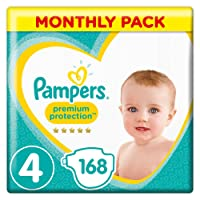Pampers Premium Protection Size 4, 168 Nappies, (9-14 kg)/(8-16kg)(Pack of 1)