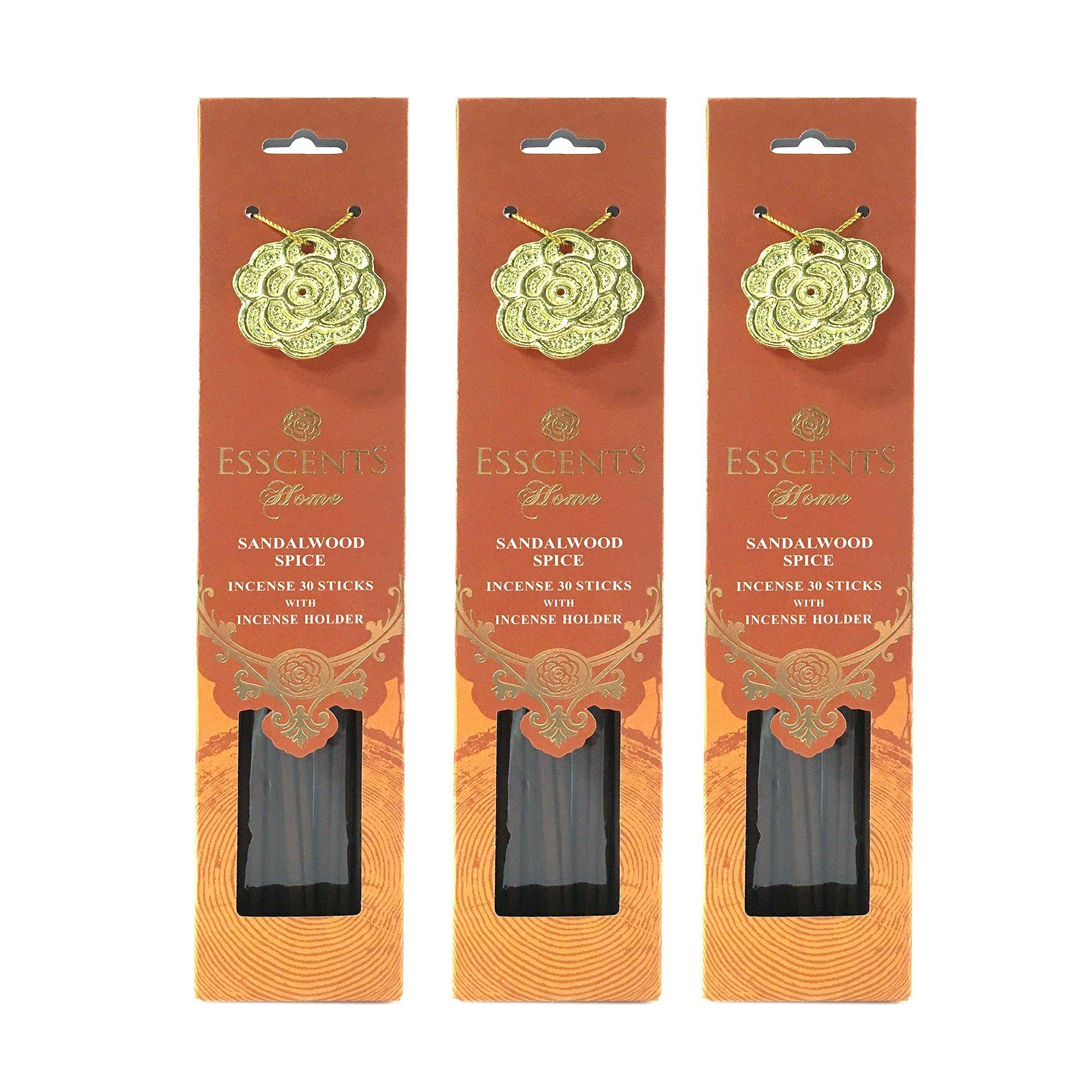 Esscents Home 90 Sticks Premium Incense with 3 Metal Incense Holders - Jasmine Tea, Rose Geranium, Sandalwood Spice, Lavender Rosemary (Sandalwood Spice)
