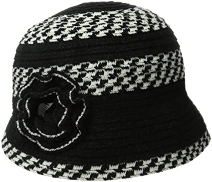 9ce956bc San Diego Hat Company Women's Chenille Cloche Hat with Flower and Jewls,  Black/Ivory