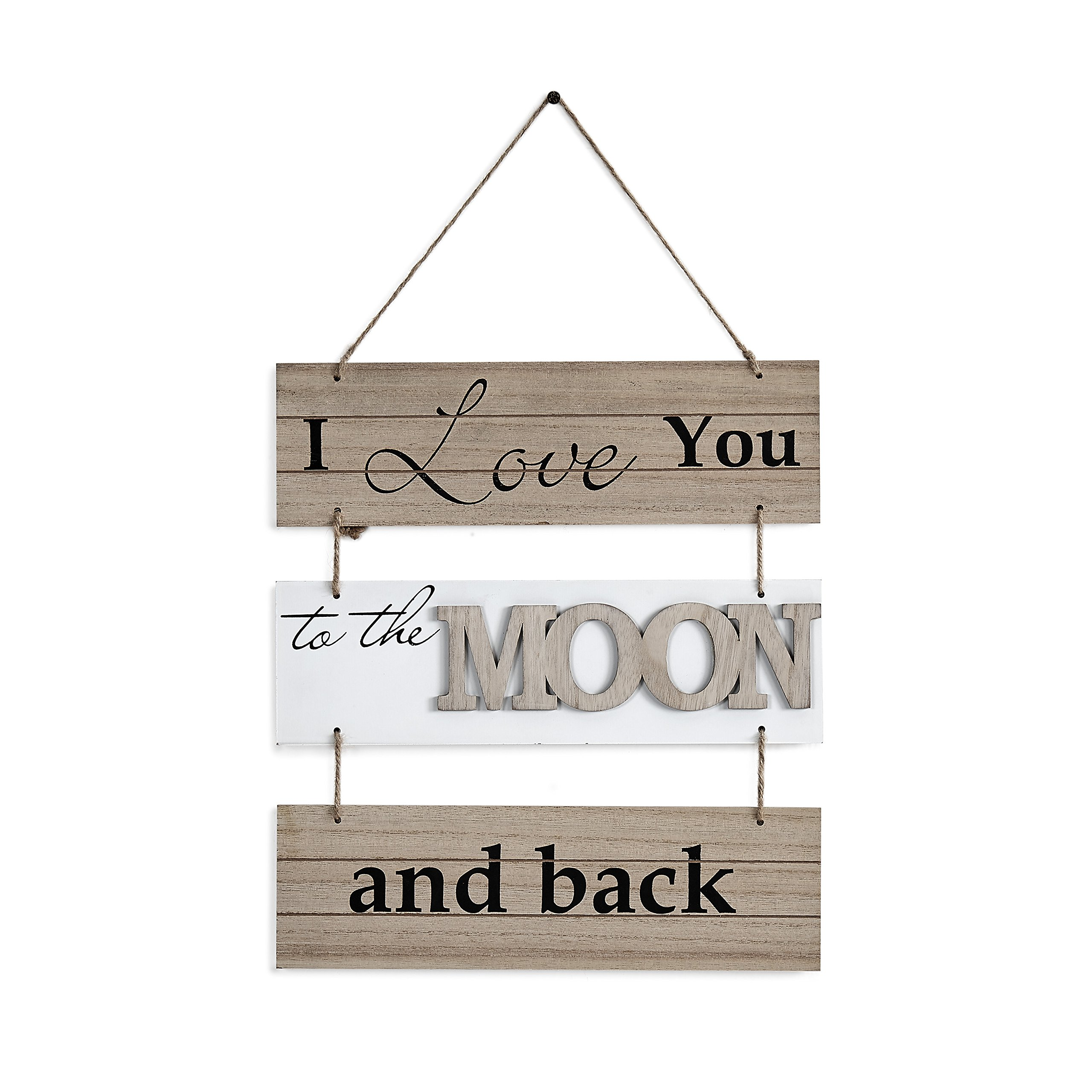 Danya B. ''I Love to the Moon and Back'' Sectioned Wooden Wall Plaque by Danya B (Image #1)