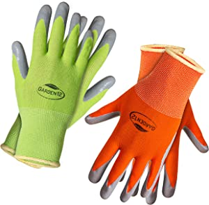 Working Gloves for Women (2, Large) Super grippy Gardening Gloves with nitrile