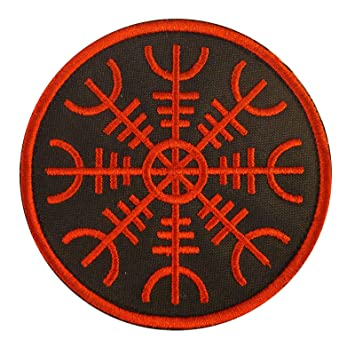 Amazon.com: Aegishjalmr Viking Helm of Awe Terror Protection Norse Rune Morale Fastener Patch: Sports & Outdoors