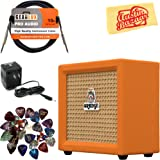 Orange Crush Mini Guitar Combo Amplifier Bundle with Power Supply, Instrument Cable, Pick Sampler, and Austin Bazaar Polishing Cloth