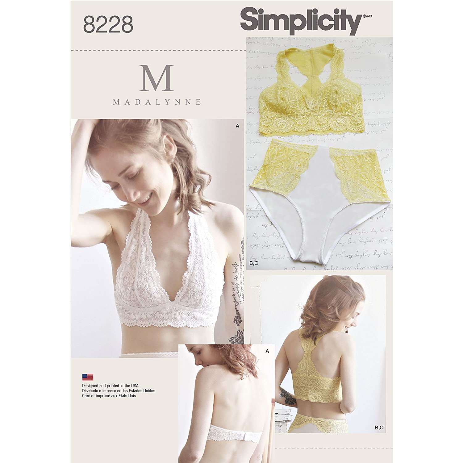 f53a22bc7 Amazon.com  Simplicity Pattern 8228 Misses  Soft Cup Bras and Panties by  Madalynne