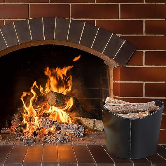 Stabiler Feuerholzkorb mit Tragegriffen Relaxdays schwarz Kaminholzkorb Kunstleder L L oval f/ür Brennholz /& Zeitungen