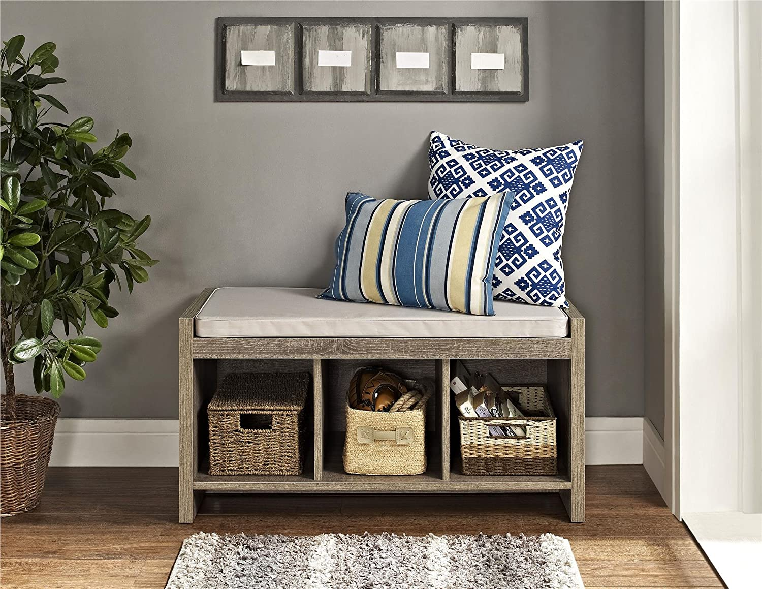 Amazon.com: Ameriwood Home Penelope Entryway Storage Bench with ...