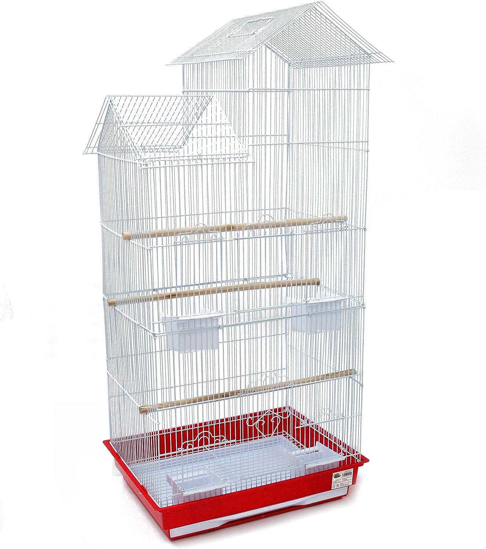 BPS Jaula Grande para Pájaro Pajarera Periquito Canarios con Saltado Perchas para Descanso Comedero 46.5 x 36 x 108 cm Color al Azar (Modelo 2) BPS-1240