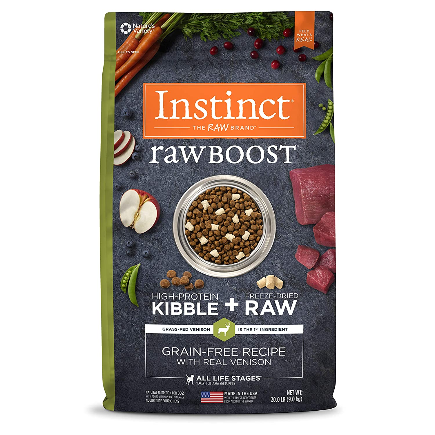 20 lb. Bag Instinct Raw Boost Grain Free Recipe with Real Venison Natural Dry Dog Food by Nature's Variety, 20 lb. Bag