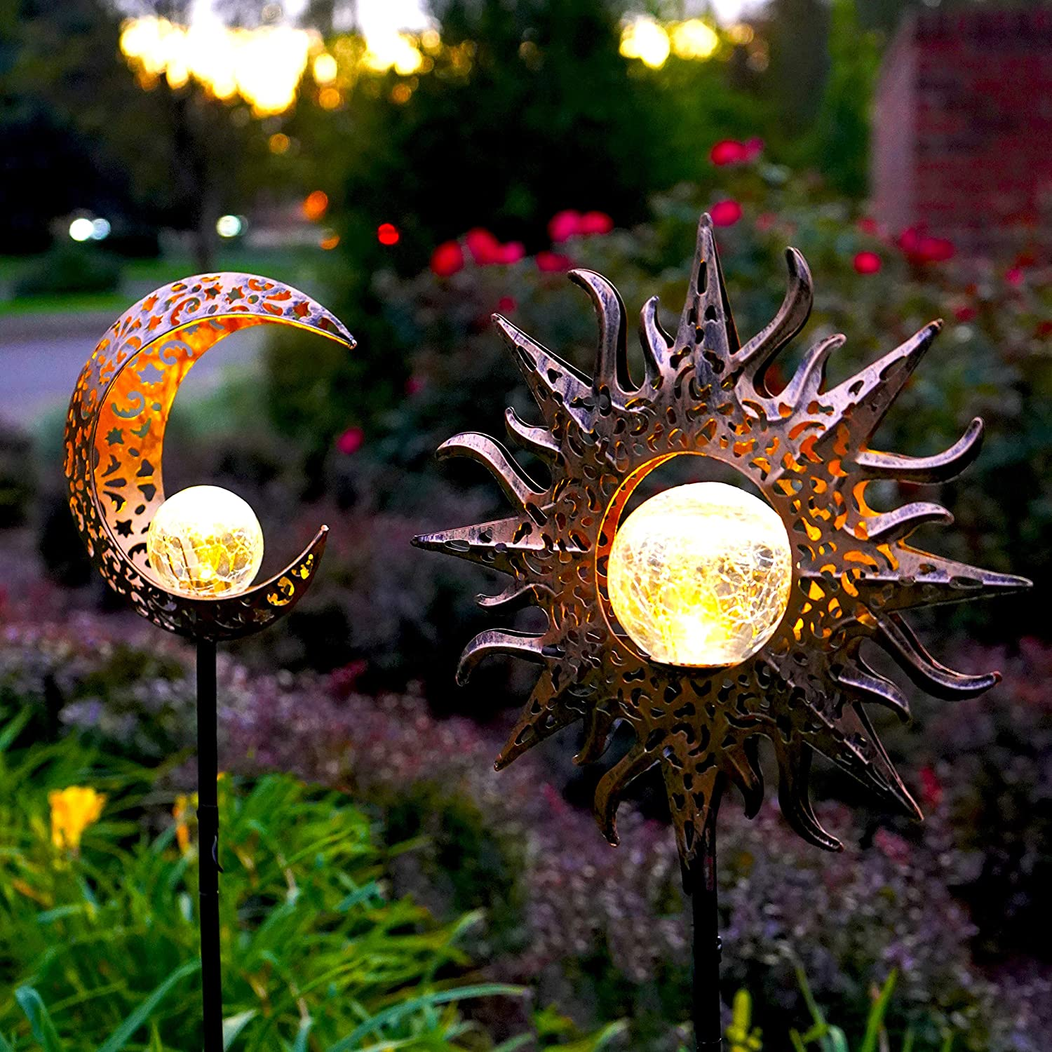 2 Pack-Upgraded 2021 Solar Lights Sun & Moon Decor-Waterproof, Iron, Decorative Stake Beautiful Crackle Globe for Front Yard, Backyard, Garden, Patio or Pool Deck Lighting