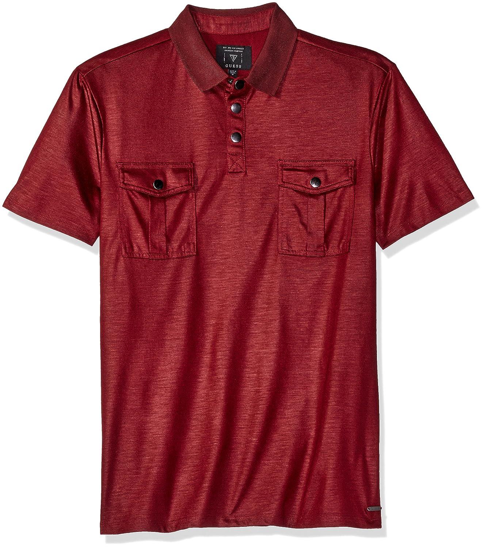 d87e50f283 GUESS Men's Mason Military Polo Shirt at Amazon Men's Clothing store: