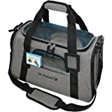 Premium Airline Approved Soft Sided Pet Carrier by Mr. Peanut's, Low Profile Luxury Travel Tote with Extra Plush Fleece Bed & Safety Lock, Under Seat Compatibility, Perfect for Cats and Small Dogs