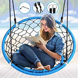 "Serenelife Hanging Netted Seat Swing - 35.5"" Inch Kids Indoor Outdoor Yard Round Circle Saucer Swing for Trees or Swing Sets - All Season UV Resistant Rope Swing Net Seat - SLSWNG125"