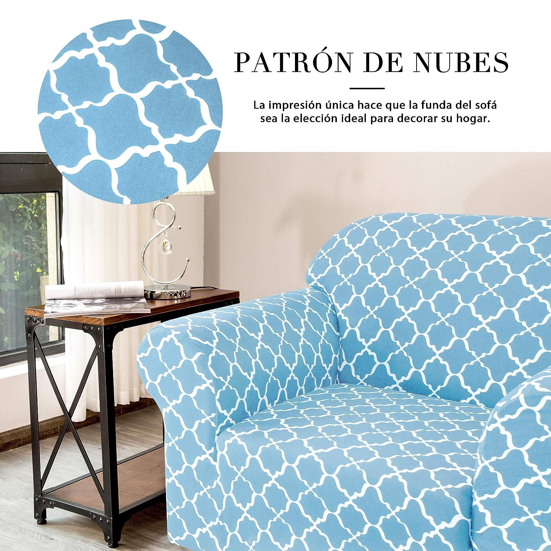 subrtex 1 Pieza Funda de Sofá Poliéster Elástica Patrón Impreso Cubierta de Asiento Forro de Sofá Doméstica (1 Plaza, Azul)