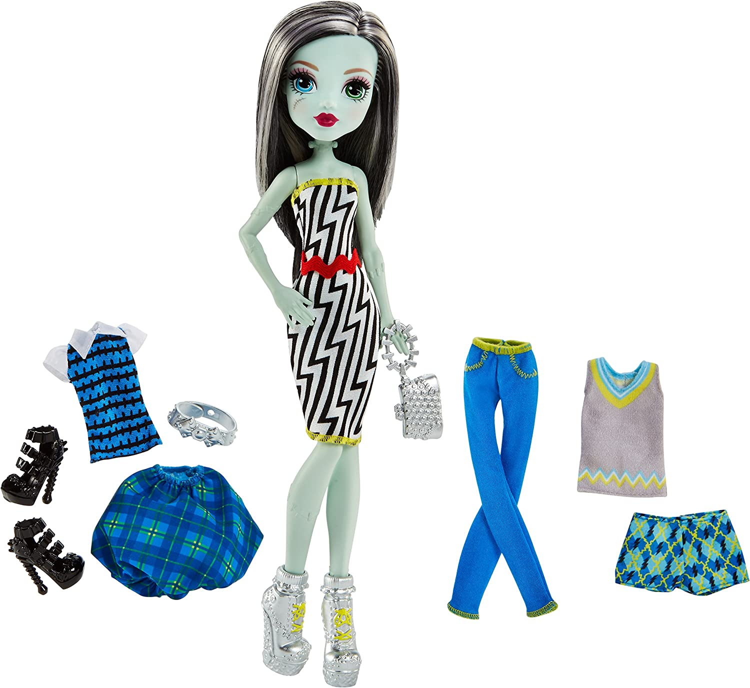Amazon Com Monster High Lots Of Looks Frankie Stein Doll Fashions Toys Games