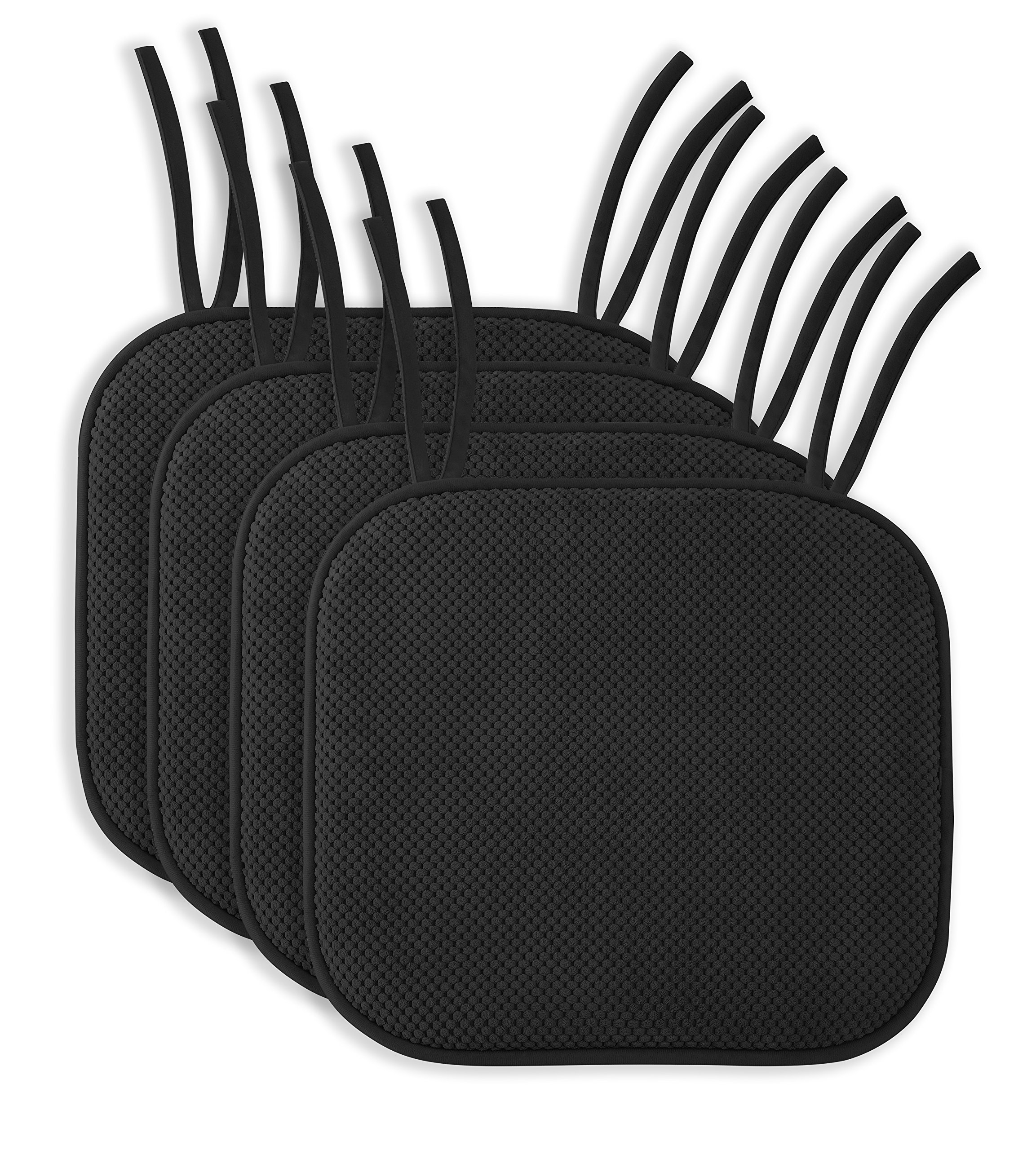 4 Pack: Ellington Home Non Slip Memory Foam Seat Cushion Chair Pads with Ties - 17'' x 16'' - Black
