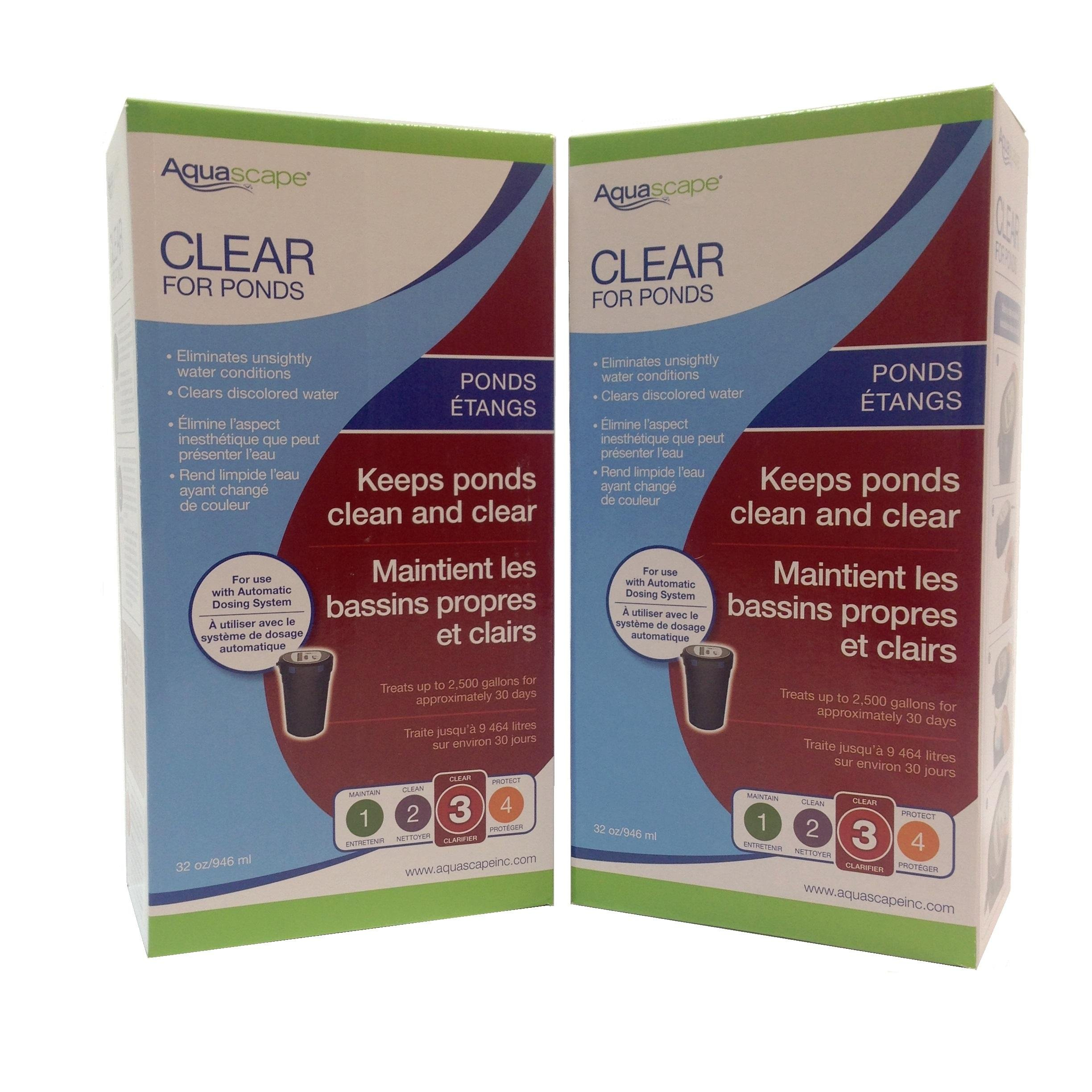 GREEN VISTA 2-PACK OF CLEAR FOR PONDS 32 OUNCE REFILL for Aquascape Automatic Dosing System Clarifies Water with Fish and Plants Safely