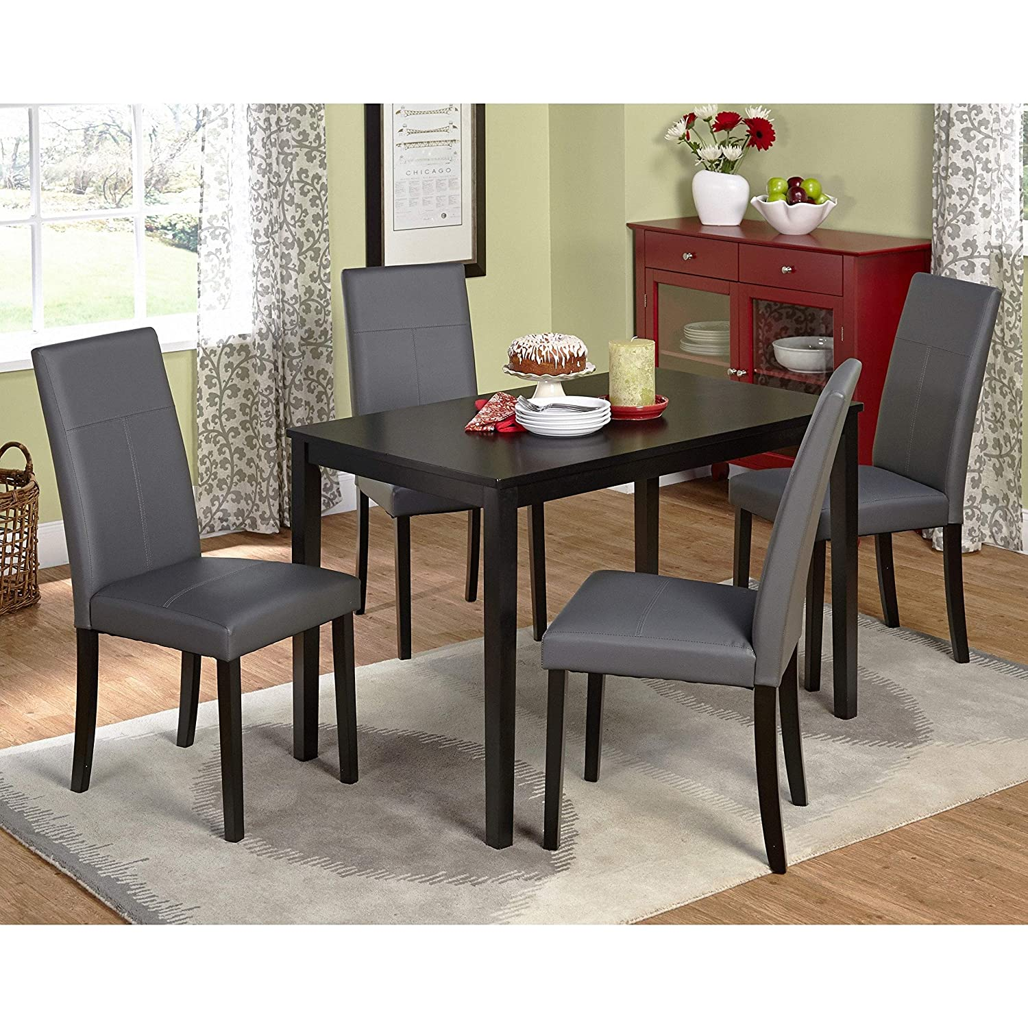 Dining tables set this 5 piece dining room furniture set is elegant for any dining room area dining chairs are very comfortable and set is made from solid