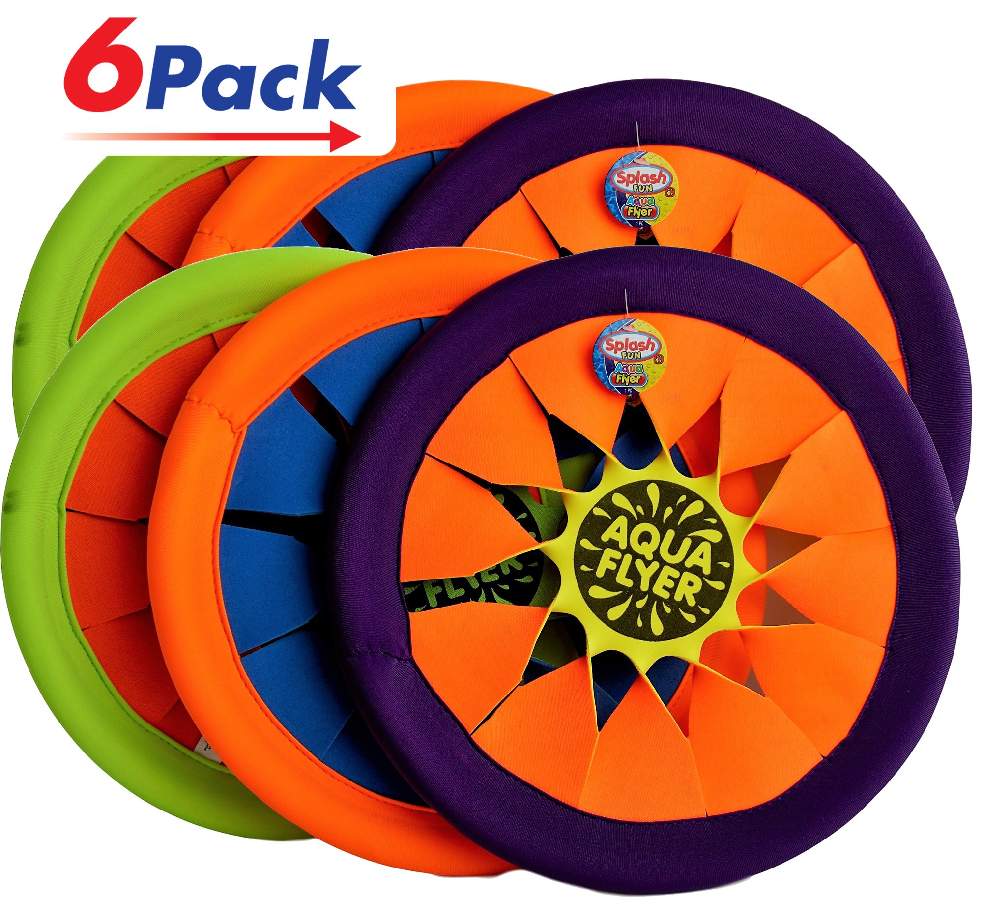 Water Frisbee by JA-RU | Beach Toys Swimming Pool Soft Flying Disc Hours of Beach Fun in the Sun Pack of 6 | Item #1031 by JaRu
