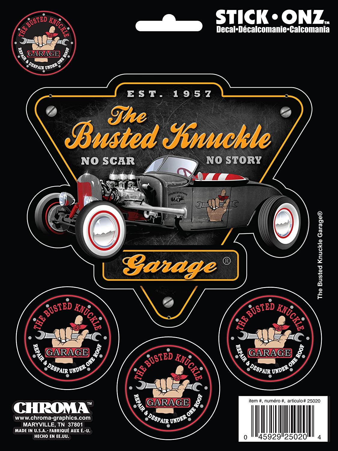 CHROMA 25020 Busted Knuckle No Scar No Story 4 Piece Stick Onz Decal