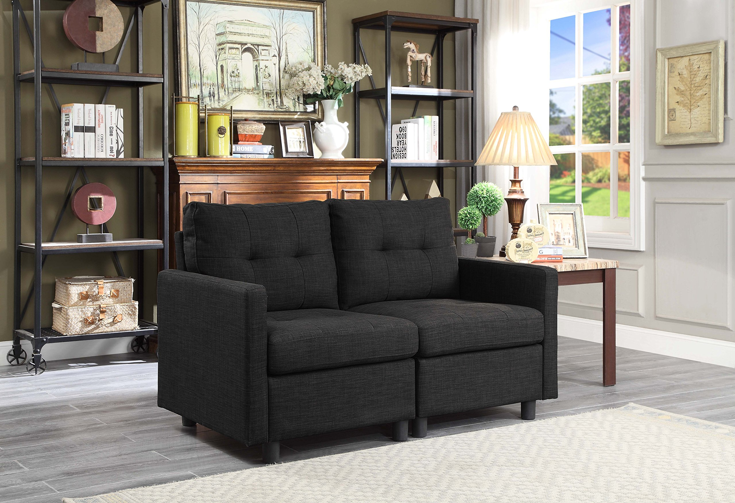 DAZONE Modular Sectional Sofa Assemble 2-Piece Modular Sectional Sofas Bundle Set Cushions, Easy to Assemble Left & Right Arm Chair Loveseat Living Room Sofas Charcoal Black by DAZONE