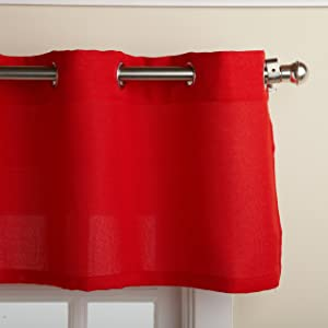 "LORRAINE HOME FASHIONS Jackson 58 x 12-inch Valance, Red, 58"" x 12"""