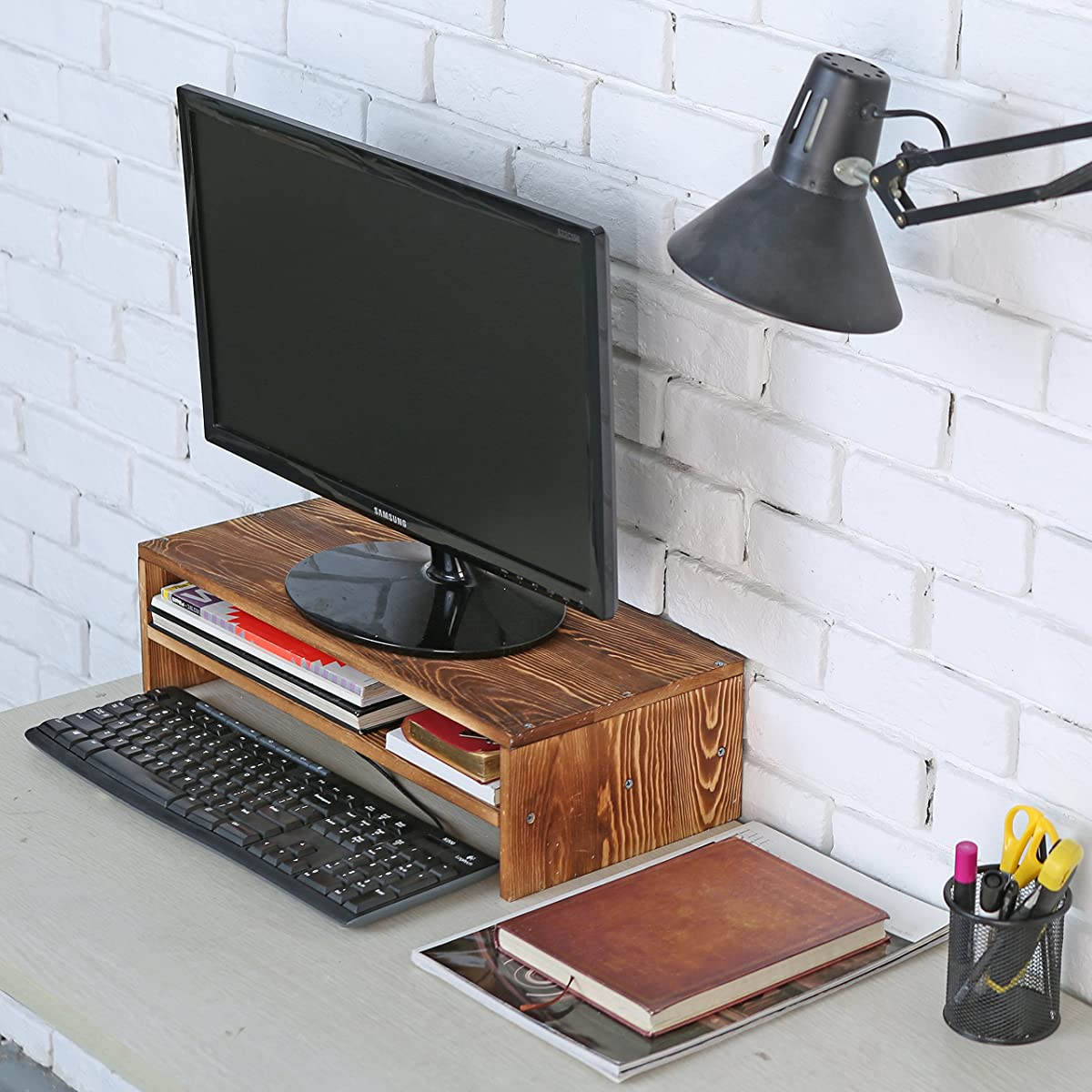 2-Tier Wood Computer Monitor Riser Stand w/ Organizer Shelf