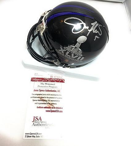 f5b6554959d Joe Flacco Baltimore Ravens Signed Autograph Super Bowl XLVII Champs Mini  Helmet JSA Witnessed Certified