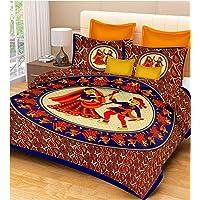 RajasthaniKart® Comfort Rajasthani Jaipuri Traditional Sanganeri Print 144 TC 100% Cotton Single Bedsheet with 1 Pillow Covers