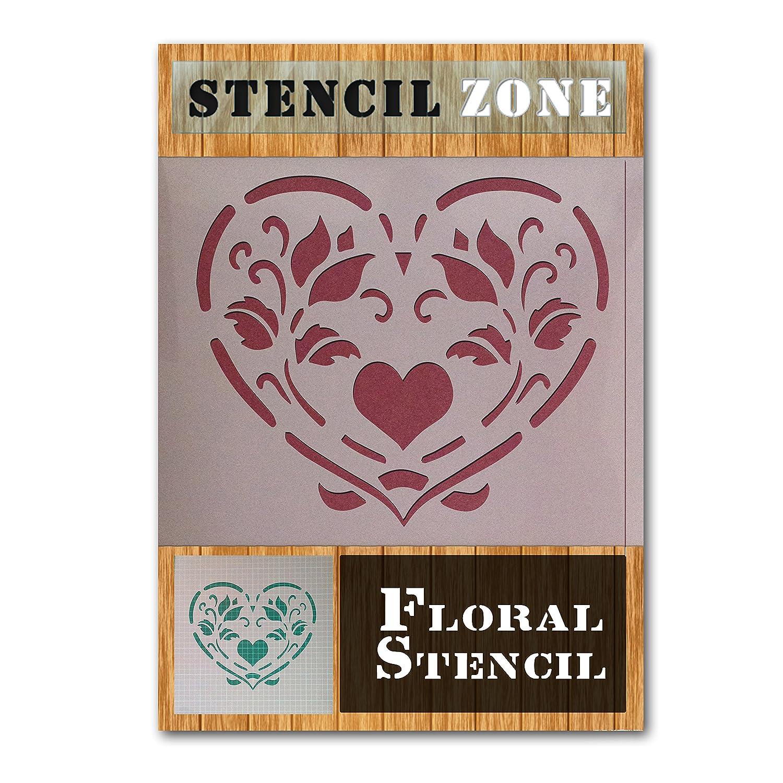 Stencil a forma di cuore, vintage, in stile shabby chic, in Mylar, per decorazione di mobili e pareti, plastica, A1 Size Stencil - Xlarge STENCIL ZONE