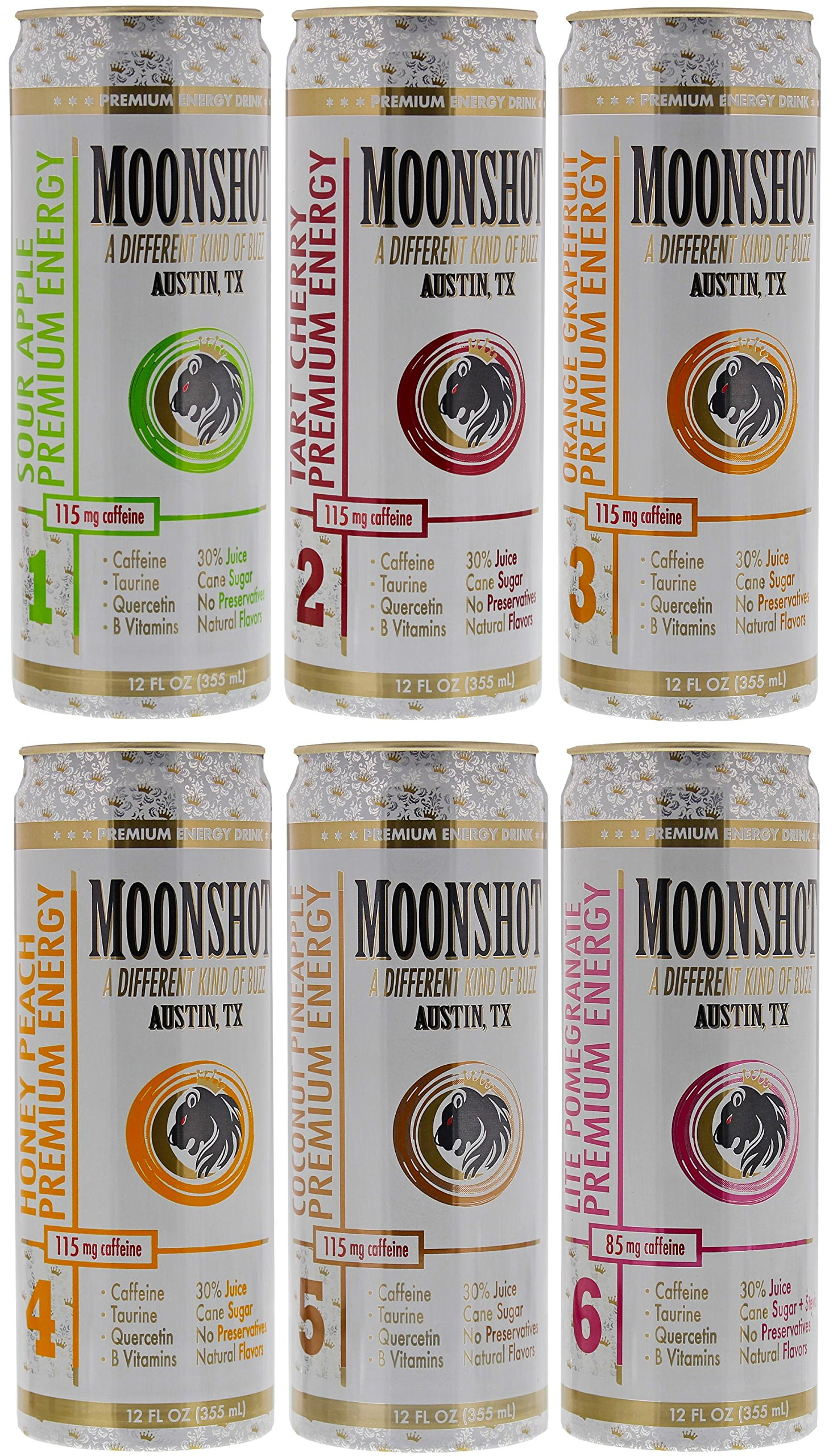 MOONSHOT Energy Drink Variety 6pk Sampler